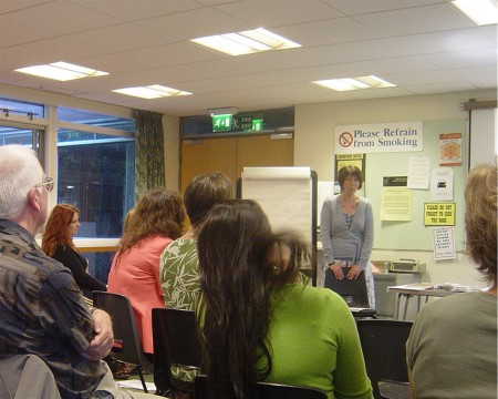 Maggie Evans giving a talk on the use of Complementary Therapies during pregnancy - July 2008