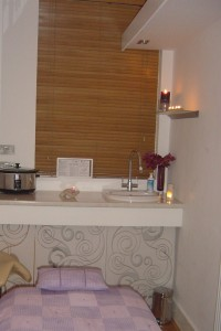 Calm and warm - the treatment room at Touch Therapy