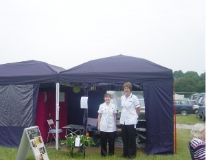 Trish and Christa outside the FHT Nottingham LSG Chill Out Zone gazebos
